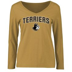 Wofford Terriers Women's Proud Mascot Slim Fit Long Sleeve T-Shirt - Gold - $27.99