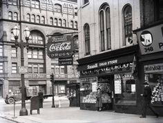 Southeast corner of Monroe and Michigan. The Francis Hotel in the background is now the location of the Grand Rapids Press building - 1940's