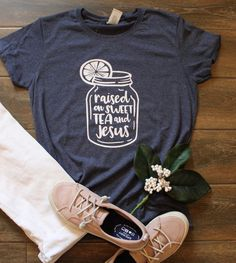 71617383e25 Celebrate your southern roots with this Sweet Tea and Jesus women s cut t- shirt.