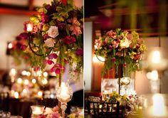 wedding tall marsala themed centertables