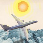 A plane flies above the clouds and two passengers sit oblivious to their exposure to cosmic rays.