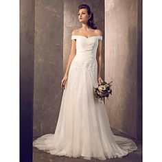 Wedding Dress Fit and Flare Sweep Brush Train Tulle Off the shoulder With Beading Appliques