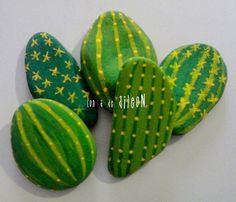 Pintando piedras: Cactus originales ¡y no se marchitan!