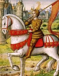 Joan of Arc depicted on horseback in an illustration from a 1505 manuscript. This Day in History: Apr Joan of Arc relieves Orleans Saint Joan Of Arc, St Joan, Jeanne D'arc, Jeanne Alter, Medieval World, Medieval Art, Medieval Manuscript, Illuminated Manuscript, French History