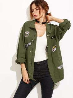 Olive Green Drop Shoulder Utility Jacket With Patch Detail
