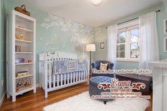 Mint Nursery wall decal tree and  birdcage vinyl wall by cuma
