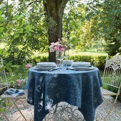 """Chamisso"" Table cloth by Leitner Leinen · www.labella-amara.com Balconies, Midnight Blue, Linen Bedding, Dreams, Table, Linen Fabric, Lawn And Garden, Ideas, Verandas"