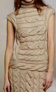 ♥ Vestido con trenzas - Beautiful chunky beige cap-sleeve cabled dress FREE knitting pattern in Spanish Knitwear Fashion, Crochet Fashion, Knitting Wool, Free Knitting, Knit Skirt, Knit Dress, Winter Dresses, Knit Crochet, Sweaters