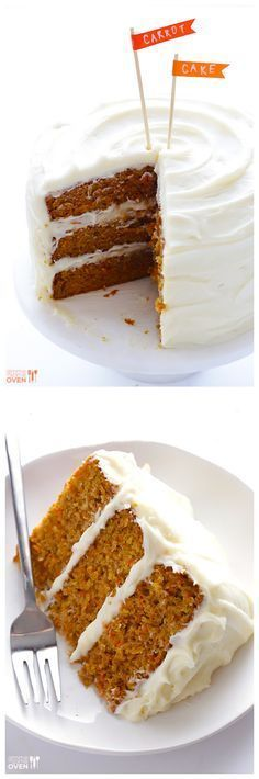 The BEST Carrot Cake Recipe -- its moist, delicious, and topped with a heavenly cream cheese frosting | https://gimmesomeoven.com #dessert