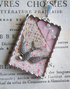 Fiona & The Fig-Victorian Lace-Silver Bird-Vignette -Tiny Shadow Box-Necklace - Silver Soldered Pendant-Charm