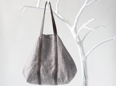 Linen Shopper in Brown-White with Twin Top Handels in Mahagoni Brown Leather (last one), tote bag, shoulder bag, beach bag