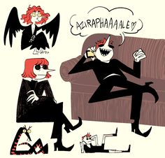 im glad vines exist so i dont have to be funny Neil Gaiman, Film Anime, Good Omens Book, Terry Pratchett, Angels And Demons, Cartoon Movies, Fanart, David Tennant, Crowley