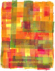 Such a fun Gelli print! Infinite Rectangles ..ok, not infinite, but I think it took me about a week to finish the first Gelli print. I'd add a layer and realize that nope, it wasn't done yet. I'm not sure how many layers of rectangles I added before I finally knew it was done, but it was worthwhile.  --randomness from unbored hands