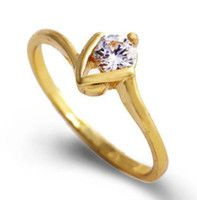 R75584 Size 6.0 Artistic Solitaire Cubic Zirconia 9k Yellow Gold Filled Ring+BOX