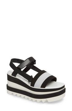 STELLA MCCARTNEY STRIPE PLATFORM SANDAL. #stellamccartney #shoes #