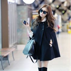 Hot Selling Luxury Pure Color Black Trench Coat.