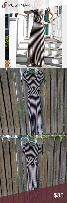 """Beige by Eci Black and Tan Striped Maxi Dress Jersey material. Features flattering stripes. Only imperfection is some pulled threads on the lower front. Extremely minor but see 5th picture.  Dress is very flattering on and a forgiving fit.  Length from top shoulder to bottom hem approx. 62"""". Beige by Eci Dresses Maxi"""