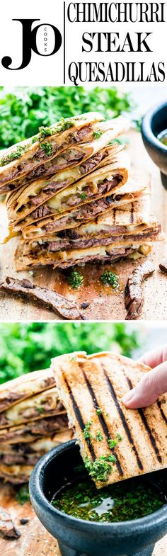 These Grilled Chimichurri Steak Quesadillas are just in time for your Memorial Day weekend party! Marinated steak in a yummy chimichurri sauce, Monterey Jack cheese and sautéed onions enclosed in a Flatout light flatbread, then grilled to perfection! Steak Recipes, Grilling Recipes, Cooking Recipes, Healthy Recipes, Skinny Recipes, Cooking Ideas, Enchiladas, Empanadas, Tamales