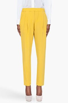 Spring TIME! 3.1 Phillip Lim Yellow Silk Tapered Trousers for women | SSENSE