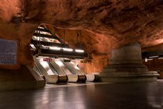 Stockholm Subway Station by Alexander Dragunov Stockholm Metro, Stockholm Sweden, Great Places, Places To Go, Beautiful Places, Derelict Buildings, U Bahn, Metro Station, Back To The Future