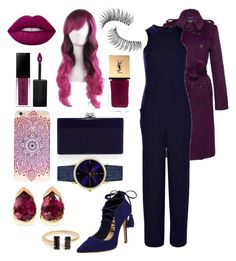 """""""Precious navy and gorgeous magenta"""" by colors-and-nerdyness on Polyvore featuring Edie Parker, Schutz, Trish McEvoy, Lime Crime, Smashbox, Yves Saint Laurent, Laruze, Fernando Jorge and Boohoo"""