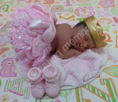 FONDANT Baby with A LITTLE BLING Cake Topper for Baby Shower Cakes Birthdays.  Baby lays on a fondant Blanket you choose the colors