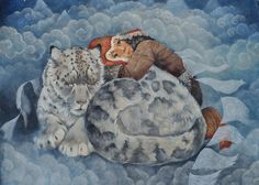 Fine art greeting card, snowleopard design, blank inside for your own message.