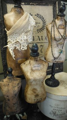 made by zoey's - tabletop antique look dress forms Shabby Chic Mannequin, Mannequin Art, Vintage Mannequin, Dress Form Mannequin, Vintage Props, Antique Booth Displays, Hanging Jewelry, Mannequins, Jewellery Display