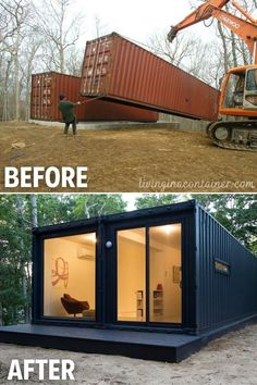 The art studio was built by placing two 40 FT shipping containers on the high foundation wall. A 9 'foundation wall was made to reveal a large area in the house. Later, 40 FT shipping containers purchased for $ 2500 each were placed on this wall. #containerhouse #shippingcontainerhouse #housedesign Building A Container Home, Container Cabin, Container Buildings, Container Architecture, Shipping Container Home Designs, Shipping Containers, Casas Containers, Tiny House Living, Tiny House Design