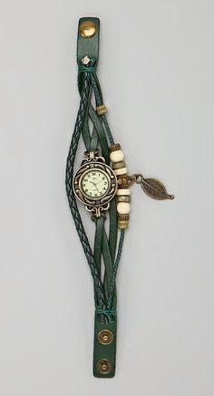 Green Leaf Charm Watch