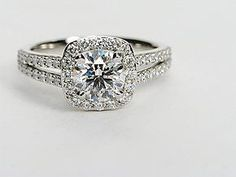 Split Shank Cushion Halo Engagement Ring in Platinum