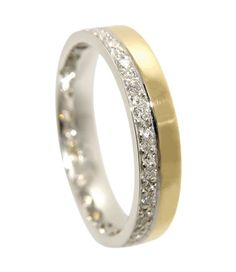 Godetia Two Tone Diamond Set Wedding Ring