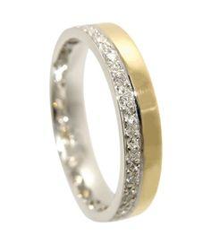 Godetia Two Tone Diamond Set Wedding Ring