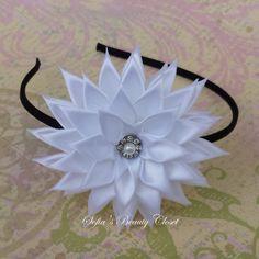 Hey, I found this really awesome Etsy listing at https://www.etsy.com/listing/232985552/white-kanzashi-flower-choose-headband