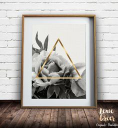 Flower Print, Rose Print, Triangle Print, Black and White photo, Black and White flowers, Printable Art, Instant Download, Large Print