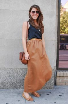 Navy Tank top / Camisole tucked in to tan Maxi Skirt