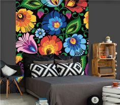 Fototapeta FOLK łowicka czarna 150x250cm - duże kwiaty