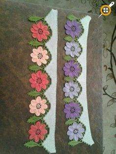 Floral towel edge samples - Floral towel lace models - Knitting a love Crochet Edging Patterns, Crochet Lace Edging, Crochet Borders, Crochet Cross, Lace Patterns, Crochet Home, Crochet Flowers, Knitting Patterns, Knitting Projects