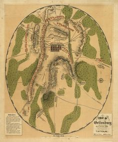 Map of Gettysburg from 1863 showing the heights formed by the more weathering-resistant rocks and the positions of the two armies. Source Wikipedia, image in public domain.