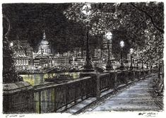 St Pauls and London skyline from Southbank at night - drawings and paintings by Stephen Wiltshire MBE