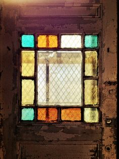 Stained glass door at Vermont Salvage