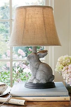 Whimsy is always nice!   Lapin Lapereau Lamp - Limestone Lamp, Patina Lamp | Soft Surroundings