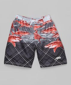 Another great find on #zulily! Black & Red Shark Boardshorts - Boys #zulilyfinds