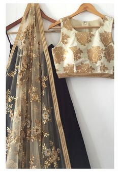 The Gold and Black Madison Lehenga Set - Daily Fashion Outfits Indian Attire, Indian Wear, Pakistani Outfits, Indian Outfits, India Fashion, Asian Fashion, Desi Clothes, Indian Clothes, Indian Lehenga