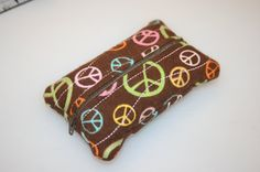 Glittered Peace signs Zippered Kleenex Pocket Pack Tissue Holder $6