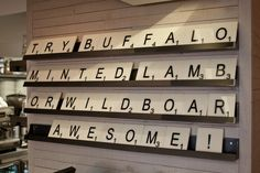 supersized scrabble style restaurant signage - gourmet burger kitchen - battersea, london