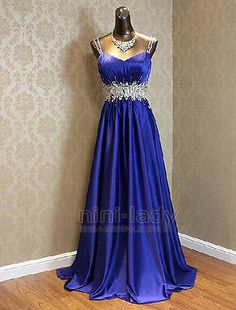 Blue-Straps-Beaded-Formal-Long-Ball-Gown-Party-Prom-Evening-Dresses-Size-6-16