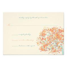 Coral Leaves AQUA Tree  Wedding Invitation