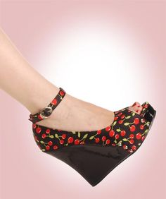 Cherry wedges with ankle straps!