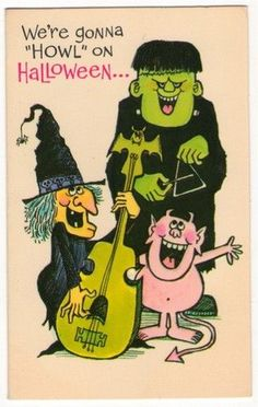 I have seen bands much worse. Retro Halloween, Vintage Halloween Cards, Halloween Clipart, Halloween Invitations, Halloween Pictures, Holidays Halloween, Halloween Crafts, Happy Halloween, Halloween Tricks